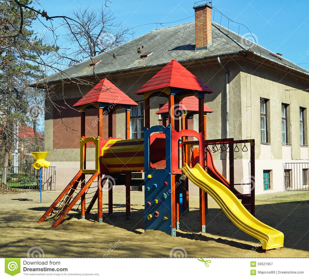 Jungle Gym In The Backyard Of The Kindergarten Stock Image ...