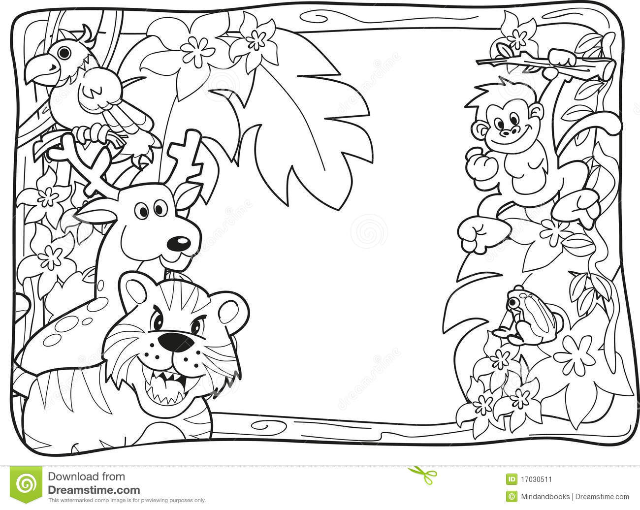 Jungle Invitation Lineart Stock Illustration Image Of