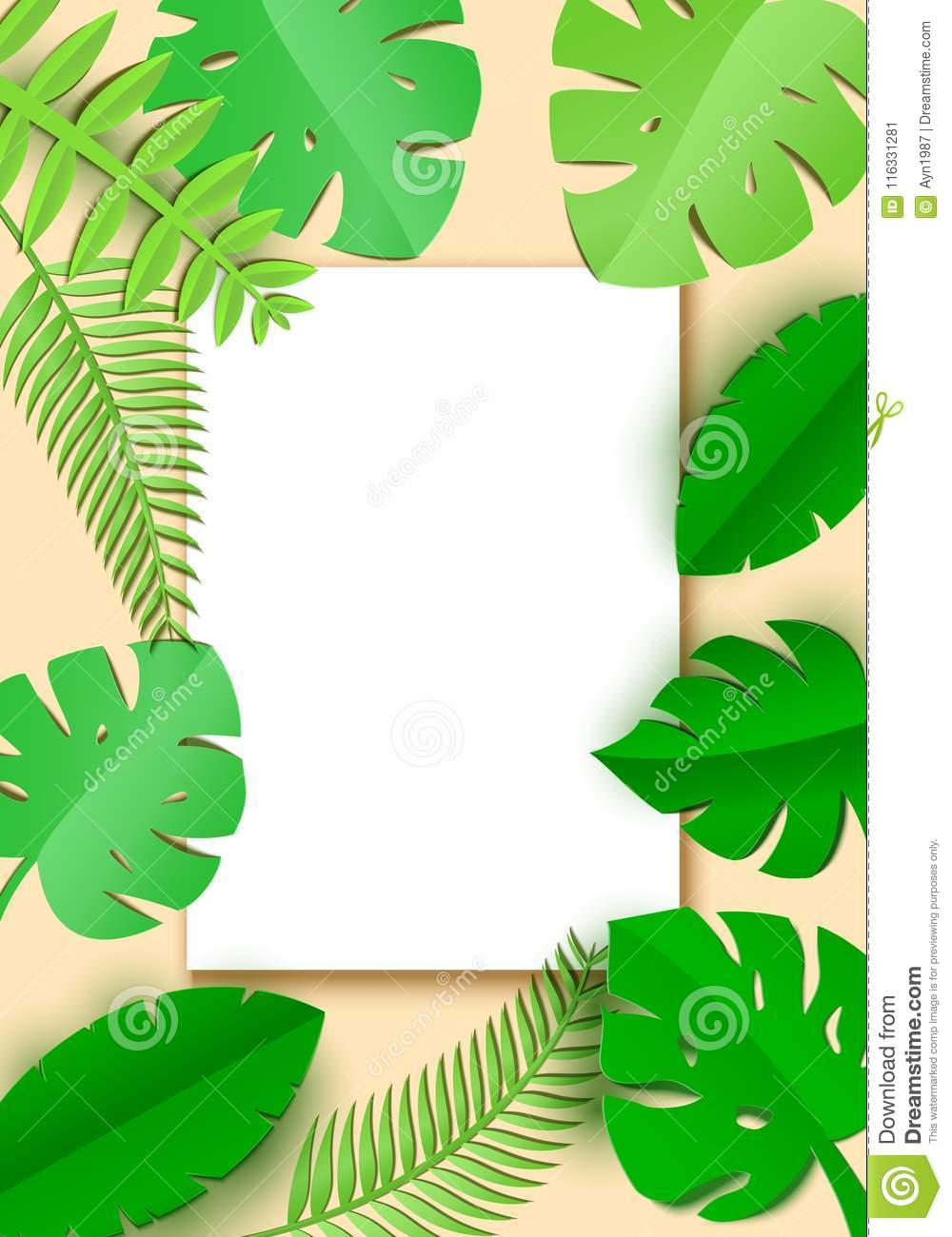 Jungle Leaves In Art Paper Style With White Sheet With Place For