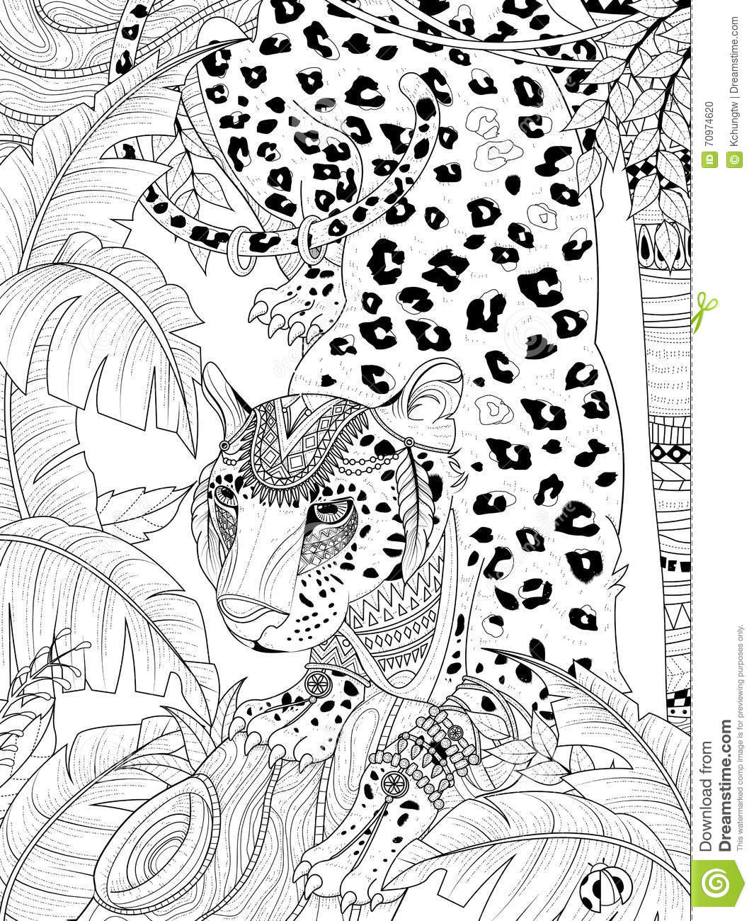 Jungle Leopard Coloring Page Stock Illustration Illustration Of