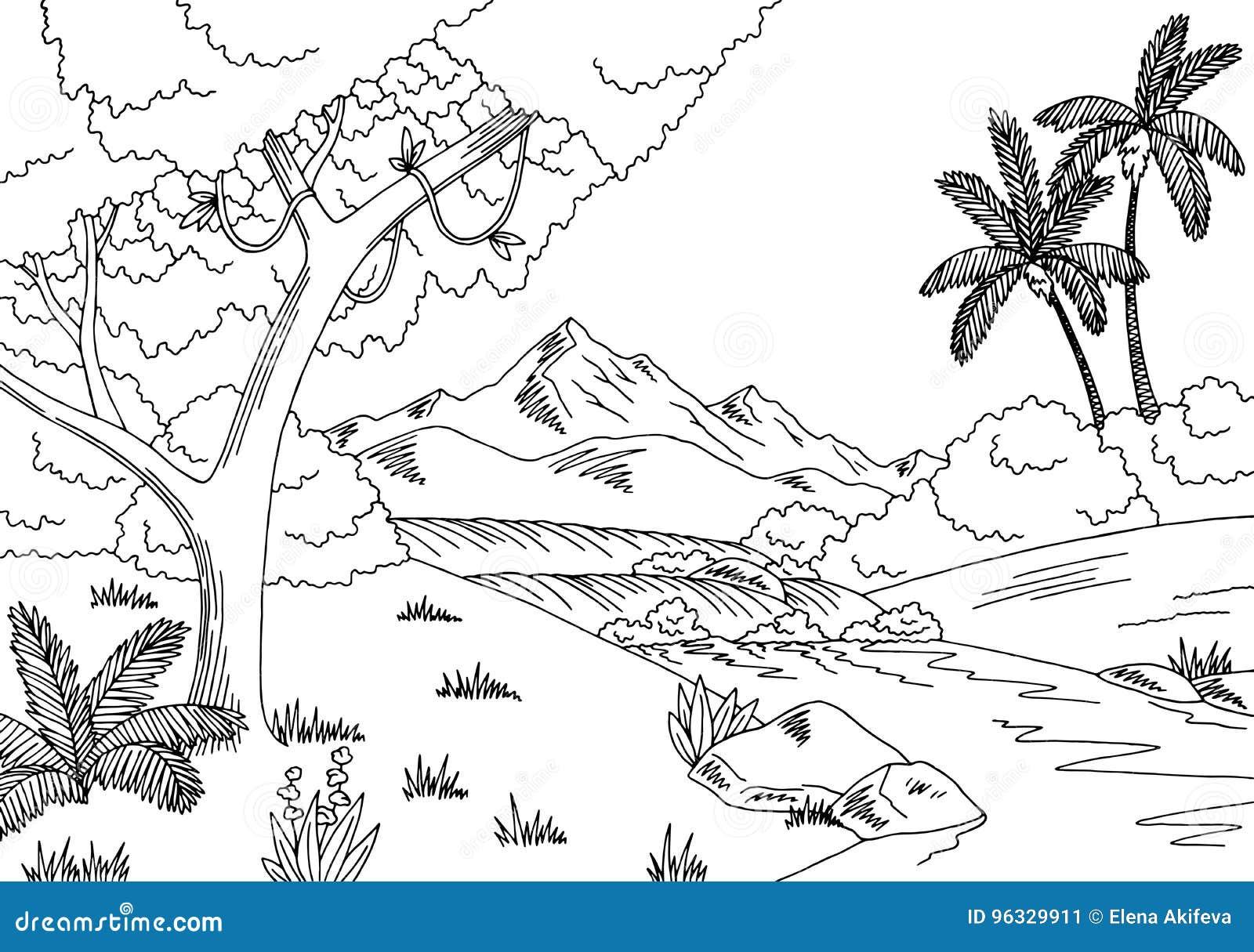 Jungle river graphic black white landscape sketch for Jungle furniture white river