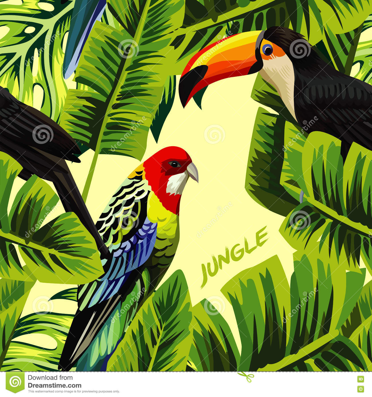 Jungle With Toucan Parrot Banana Leaves Stock Vector