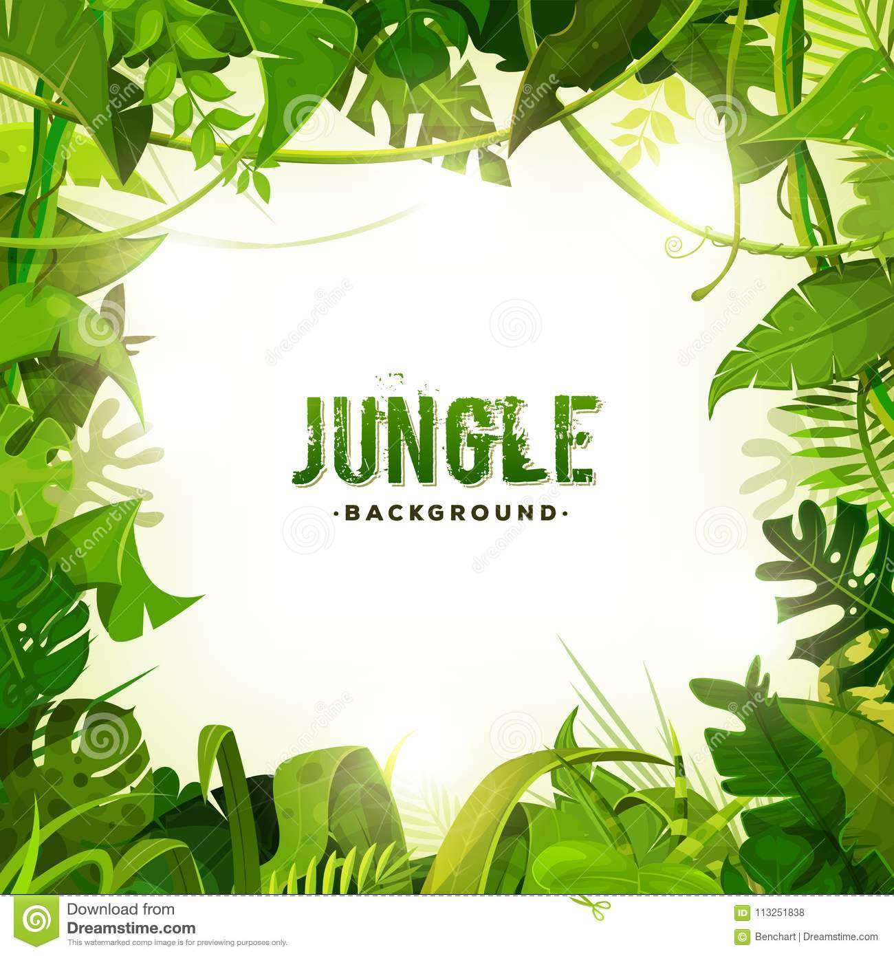 Jungle Tropical Decoration Background Stock Vector - Illustration of on