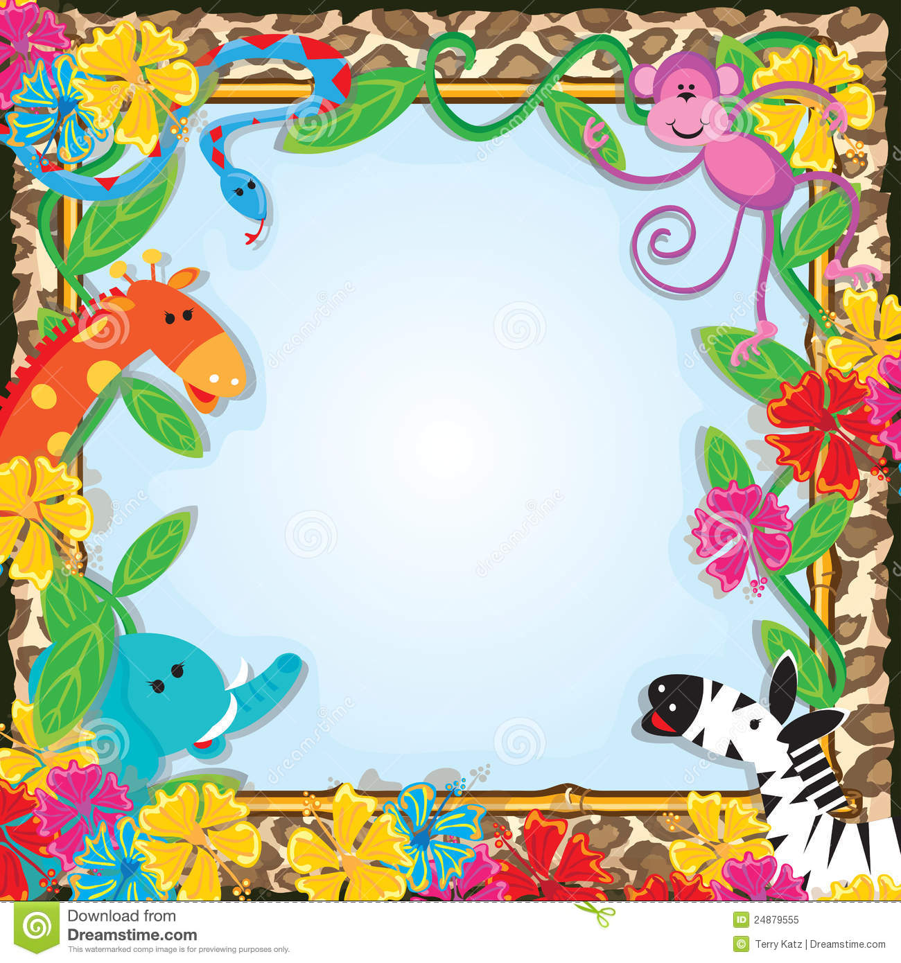 Bright And Colorful Jungle Animals Welcome You To A Party With Friendly Giraffe Elephant Zebra Monkey Snake Against Leopard Print Background