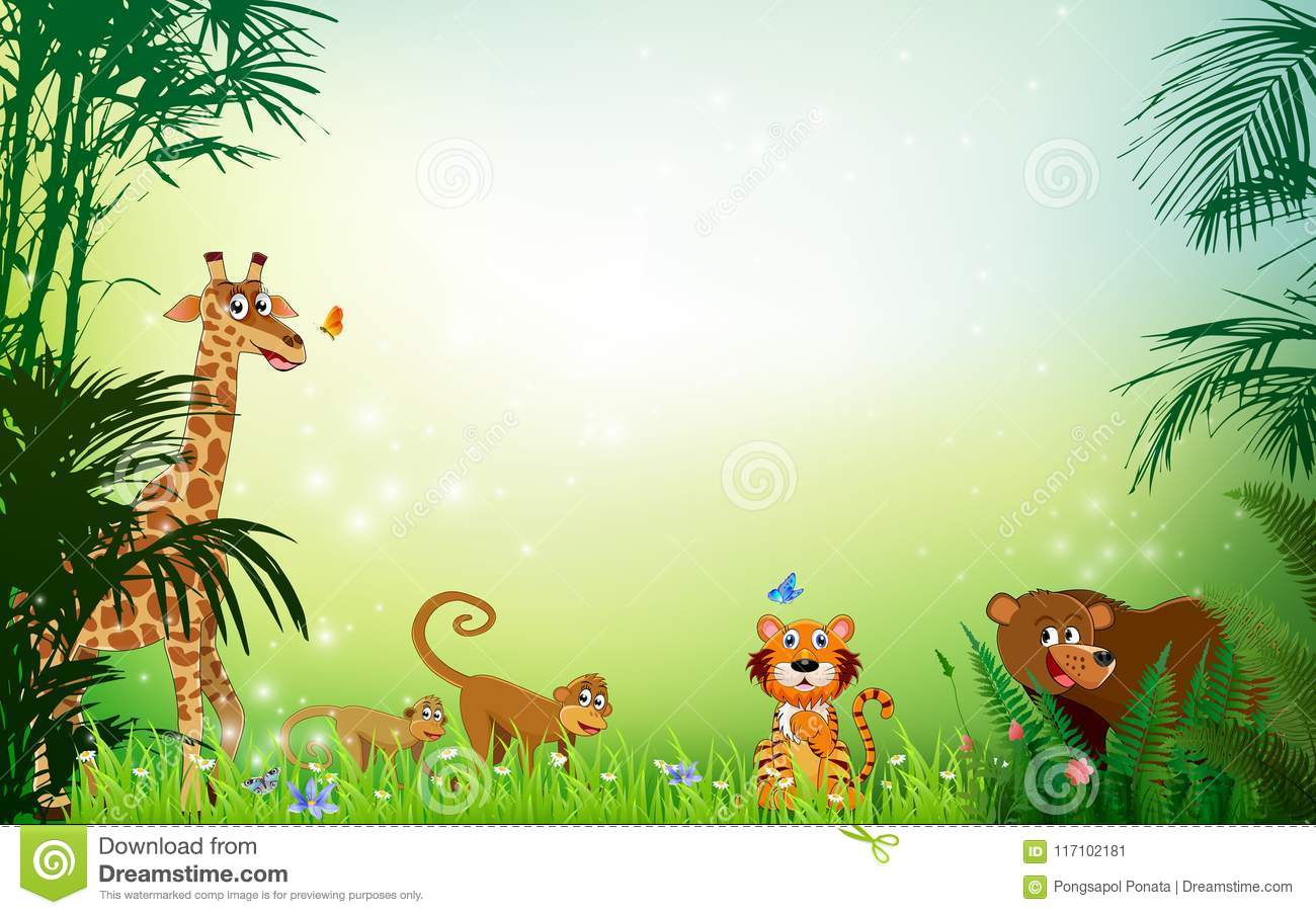 Jungle Or Zoo Themed Animal Background Stock Vector