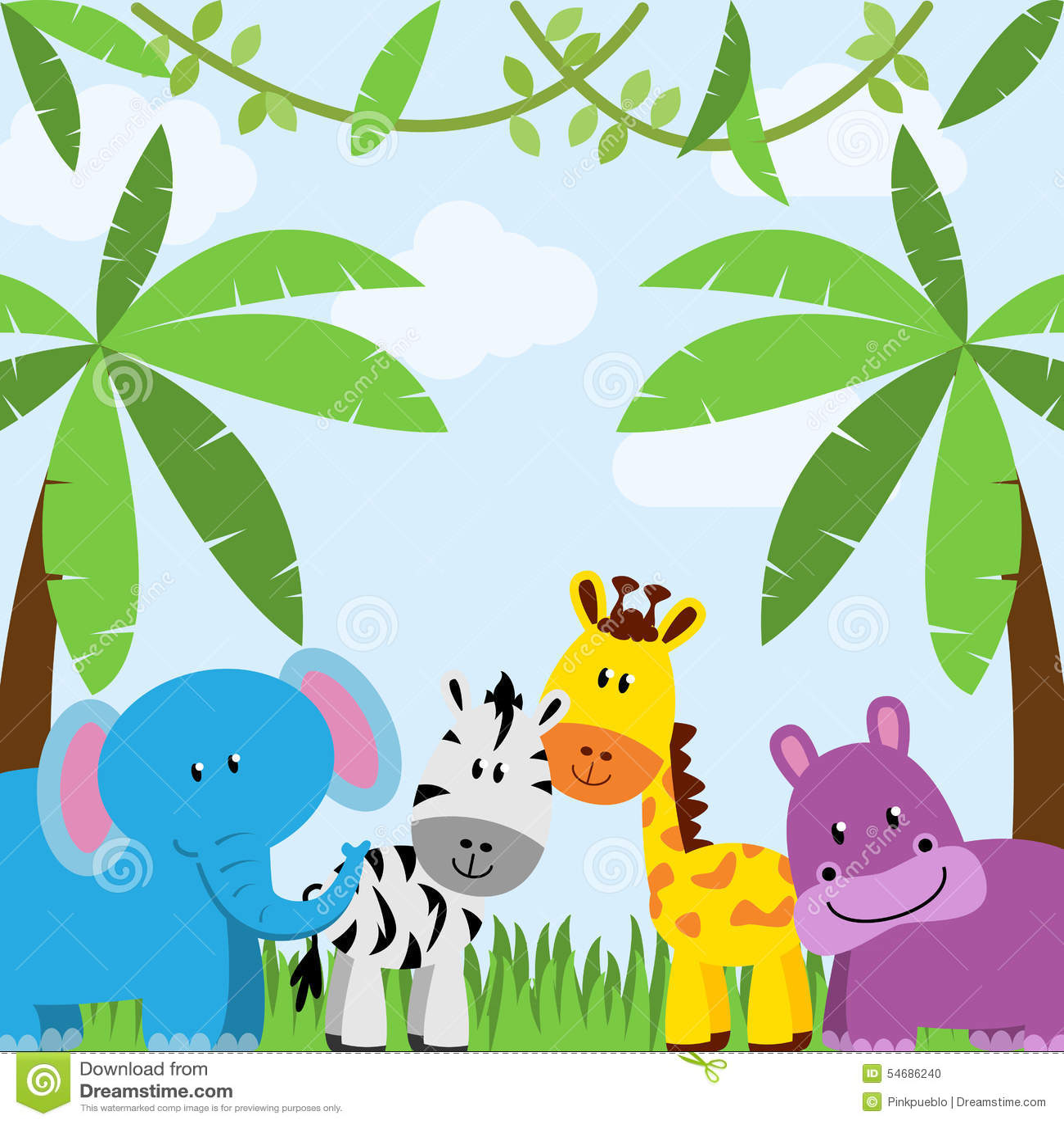 Jungle Or Zoo Themed Animal Background Stock Illustration - Image ...