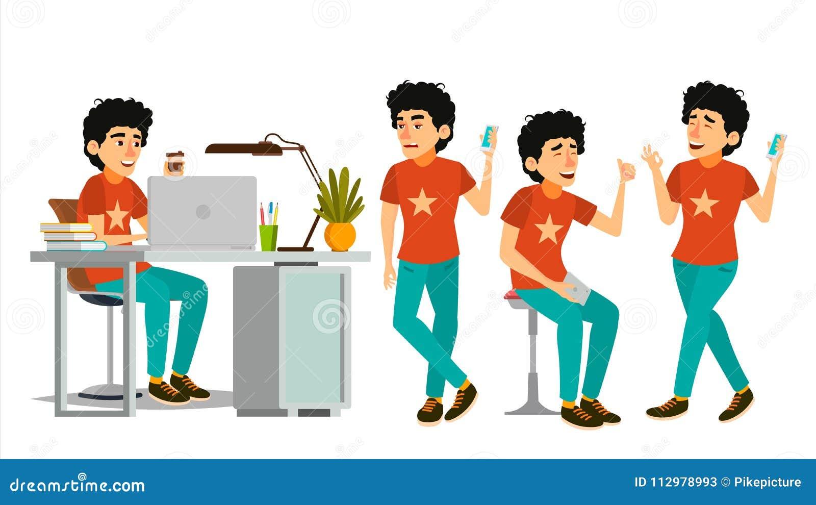 Junior Developer Character Vector. Young Coder In Modern Office Workplace. Developer. Programmer. Software. Environment