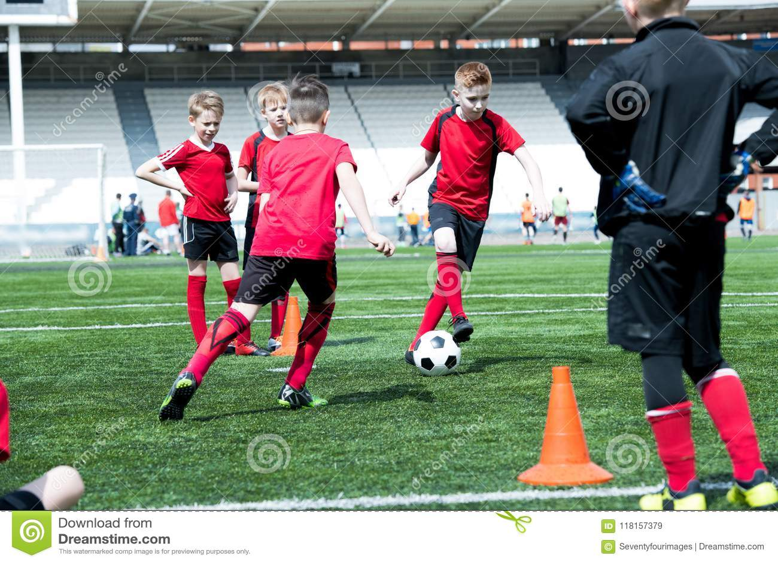 Junior Football Team Practicing