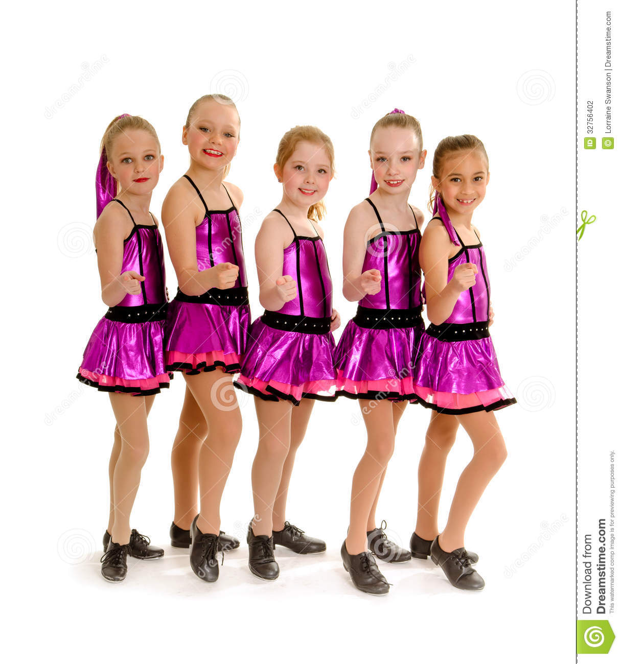 Young girls tap dancing