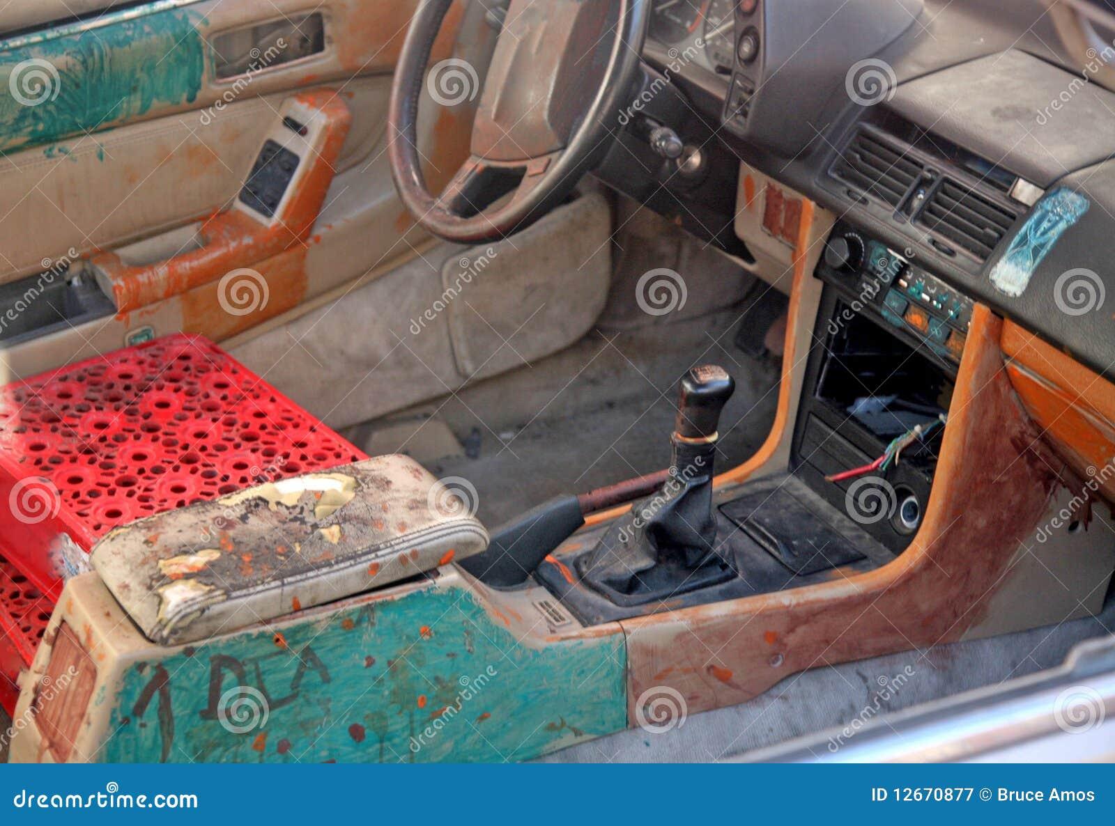 Junk car interior stock image. Image of grunge, seatless - 12670877