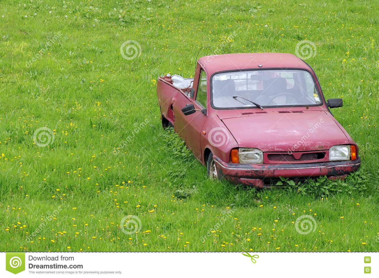 Junk Car Abandoned On A Meadow Stock Photo - Image of sport, engine ...