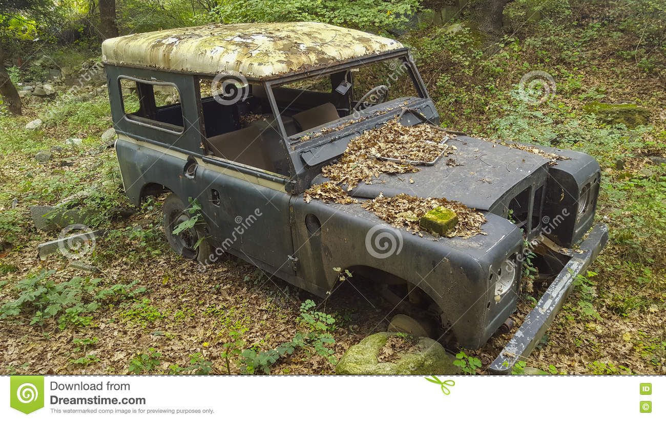 Junk car in woods stock photo. Image of horizontal, leaves - 72500824