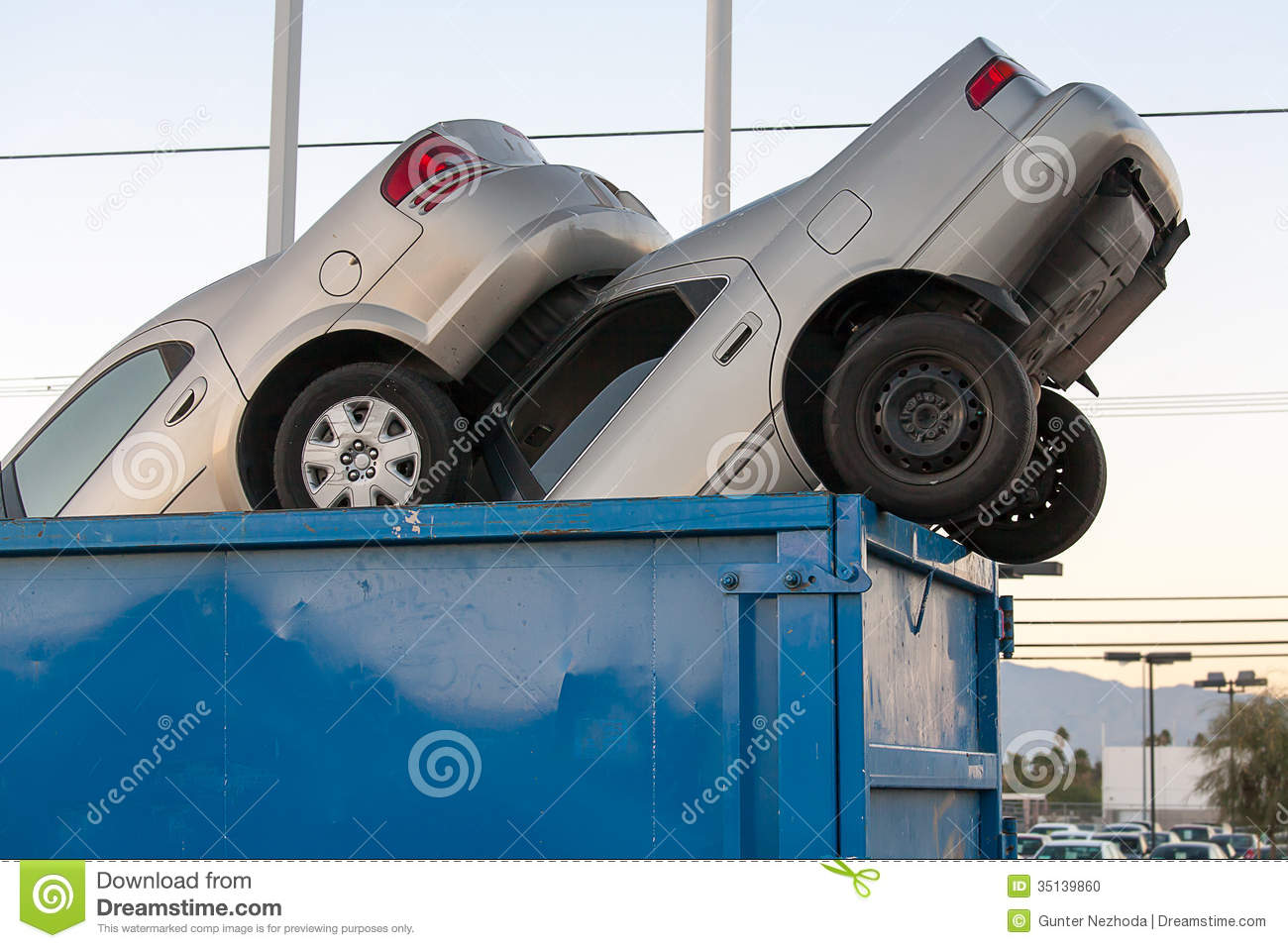 Cash For Clunkers >> Junk Cars In Dumpster Cash For Clunkers Stock Photo - Image: 35139860