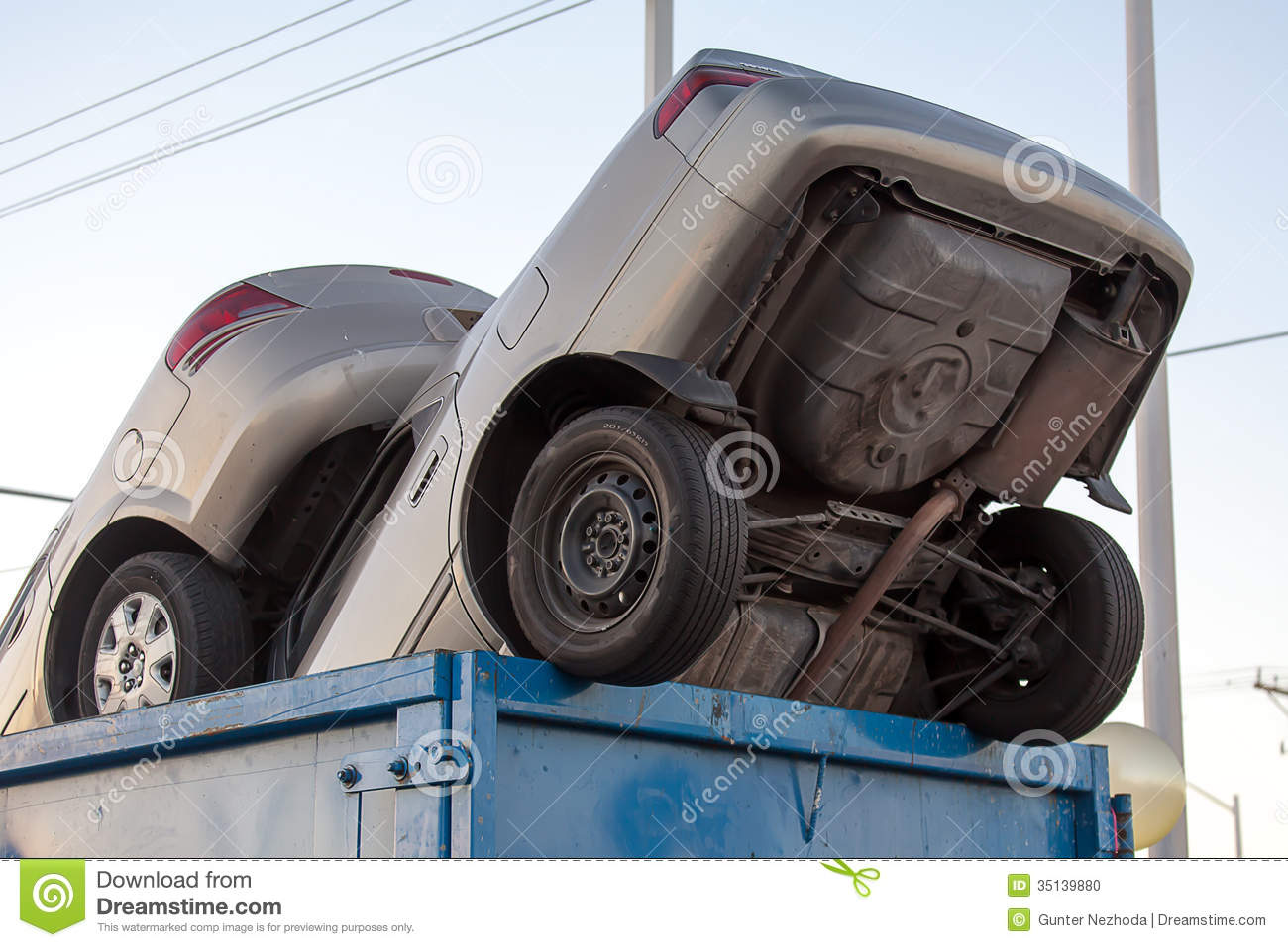 Junk Cars In Dumpster Cash For Clunkers Stock Photo - Image of ...
