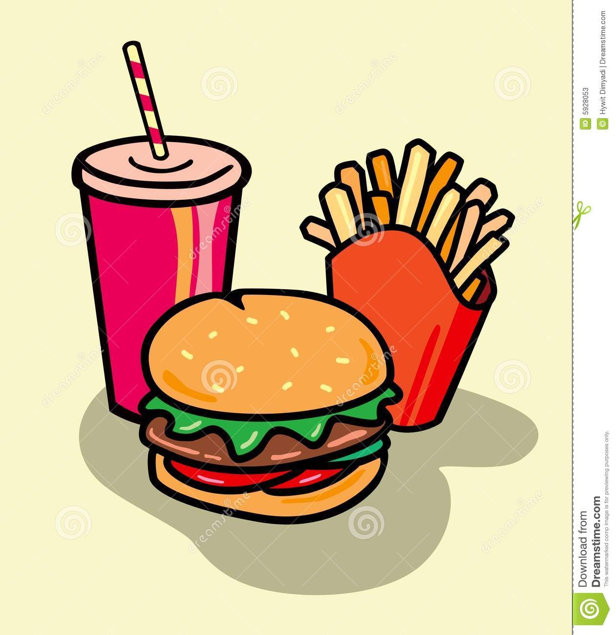 Hamburger, Frech fries and Soda in Vector format.