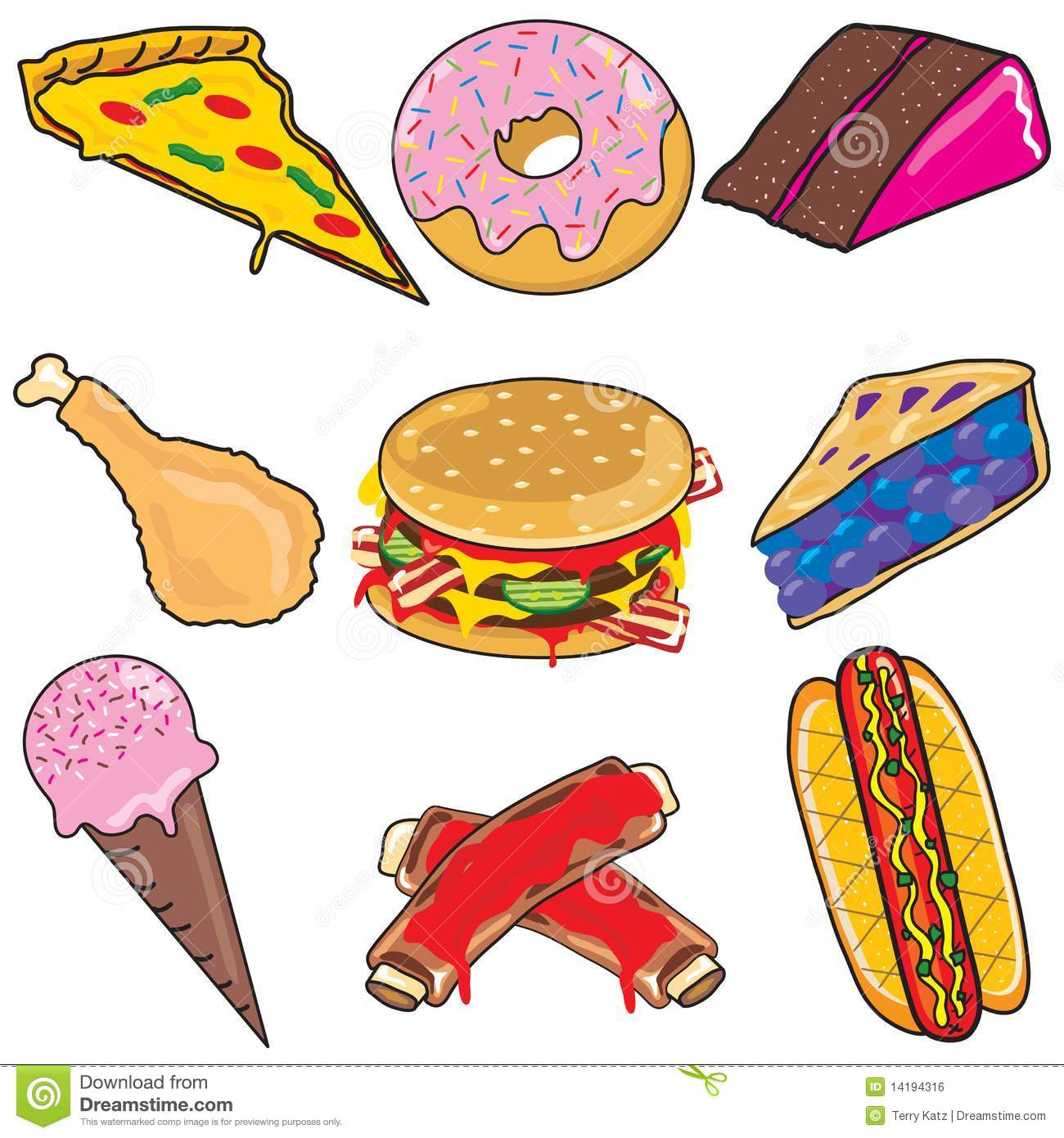 Junk food clipart elements and icons isolated on white
