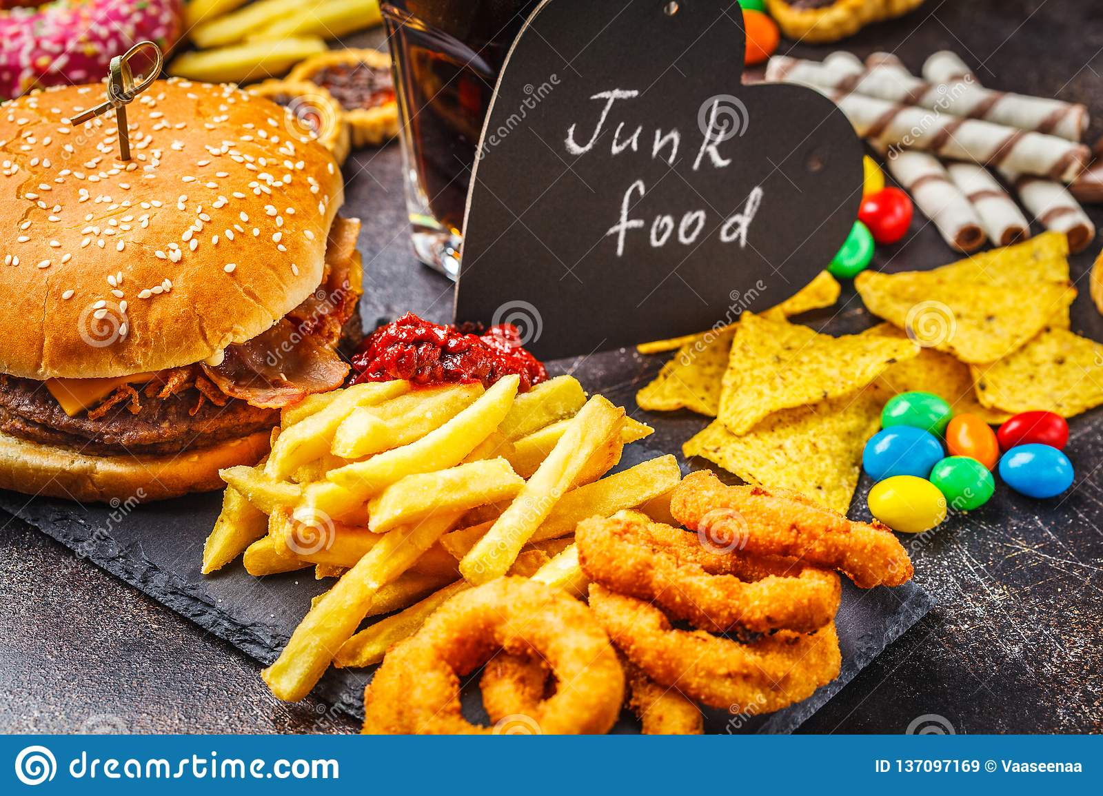 Junk Food Concept  Unhealthy Food Background  Fast Food And Sugar
