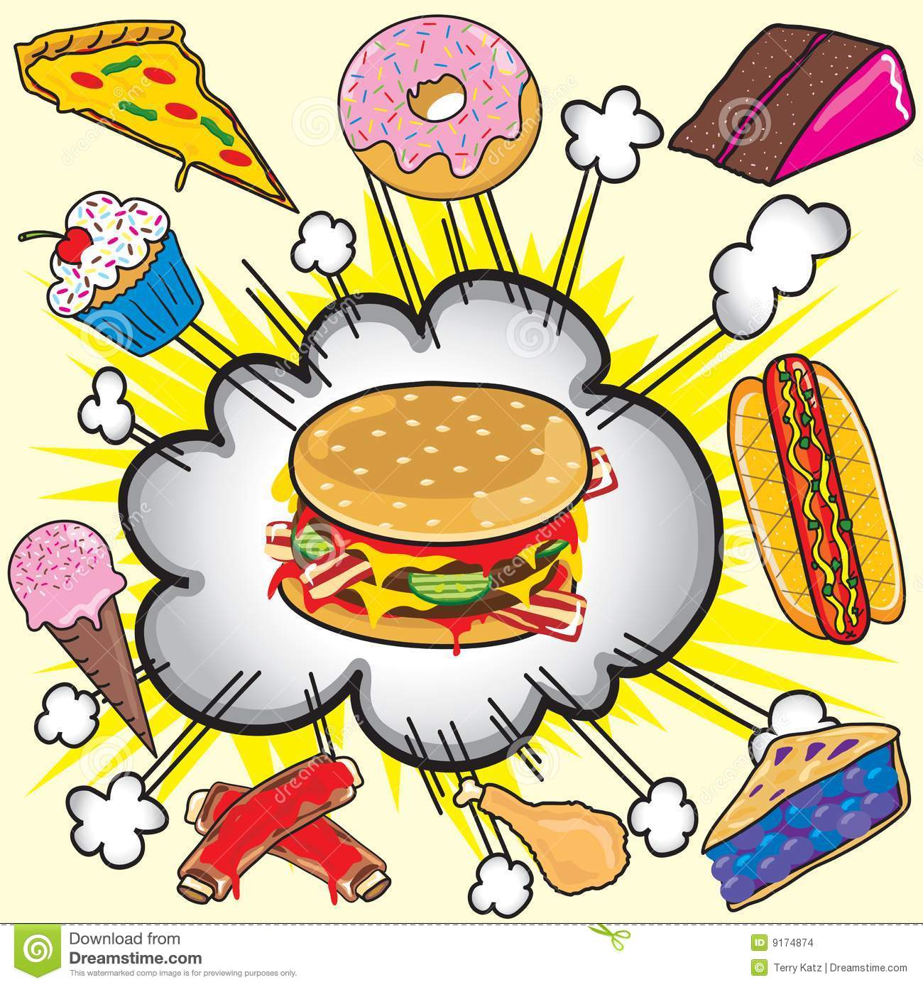Cartoon hamburger fast food cartoon fast food cartoon cartoon pictures - Junk Food Explosion Stock Vector Image Of Burger Donut