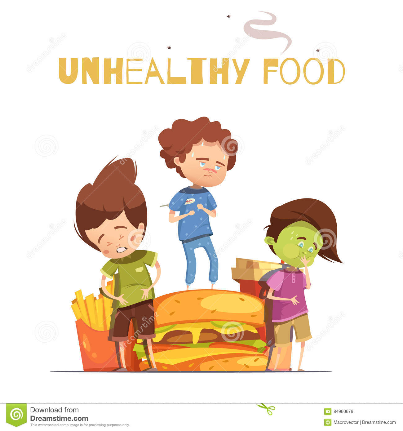 junk food harmful effects cartoon poster stock vector