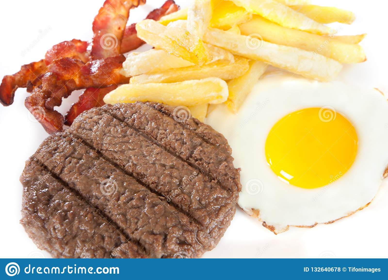 Junk food with high levels of calories and cholesterol
