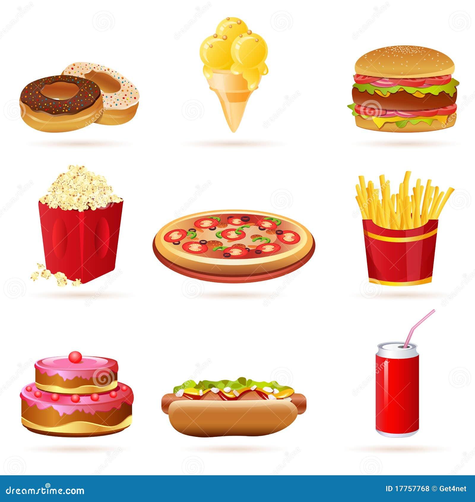 Junk Food Icons Stock Illustration Illustration Of Corn