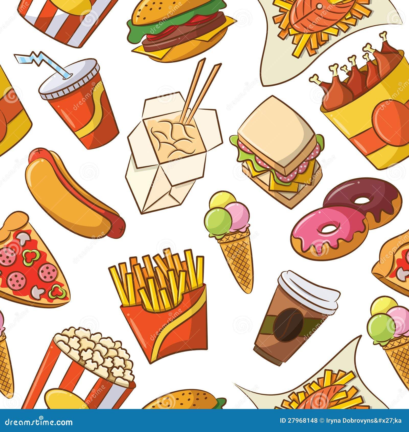 Junk Food Seamless Pattern stock vector. Illustration of ...