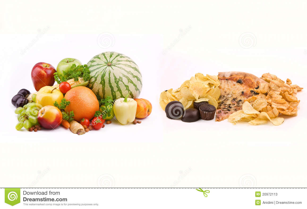 junk food vs healthy food stock photo megapixl