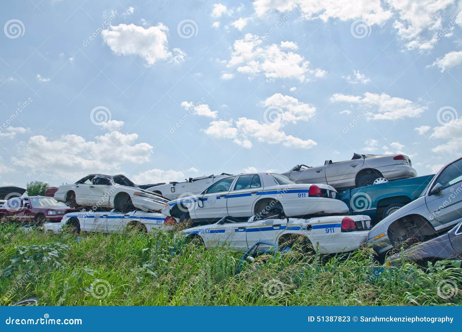 Junkyard Cars stock image. Image of retro, pileup, junkyard - 51387823
