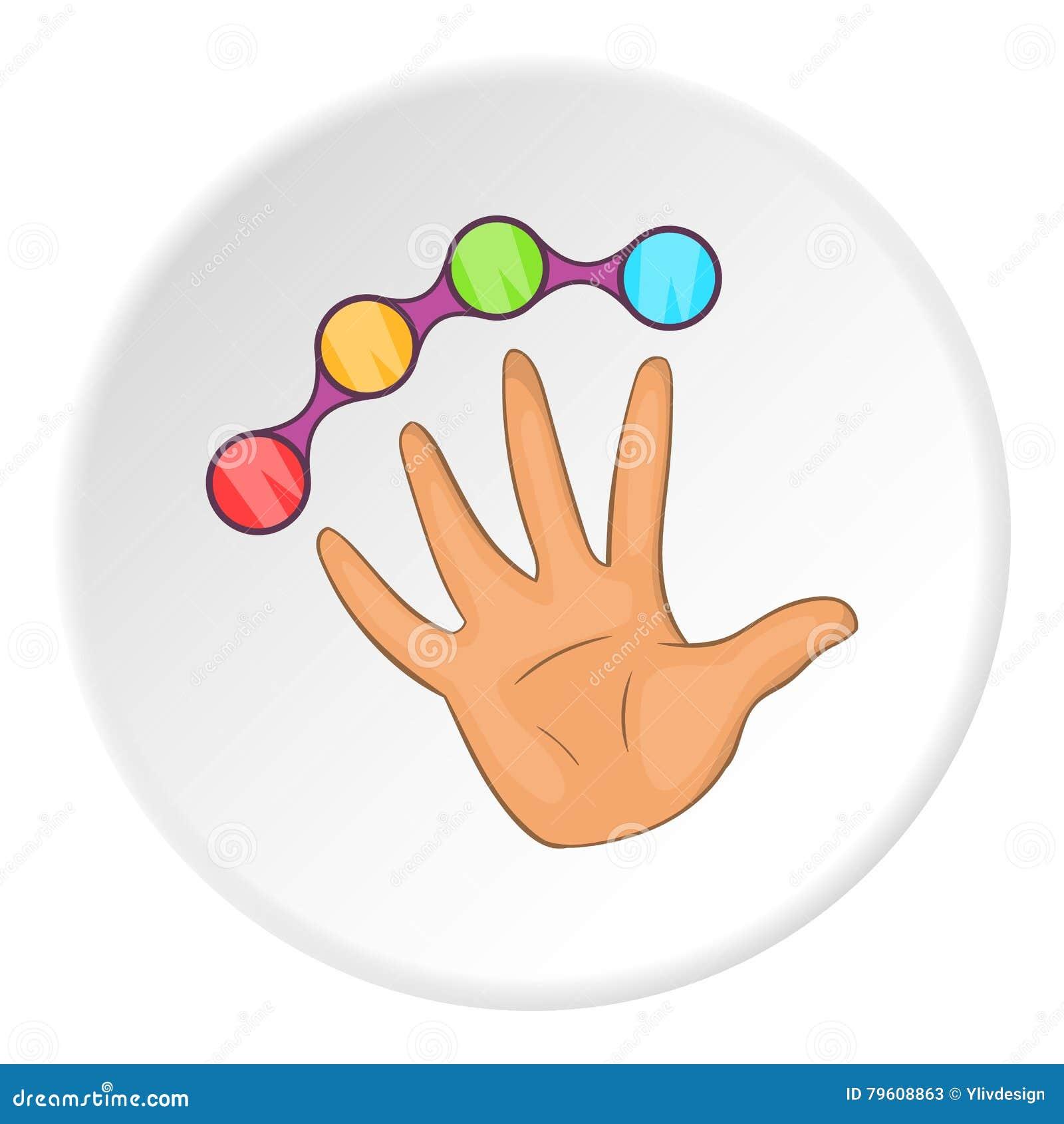 Juntas com ícone da mão, estilo dos desenhos animados