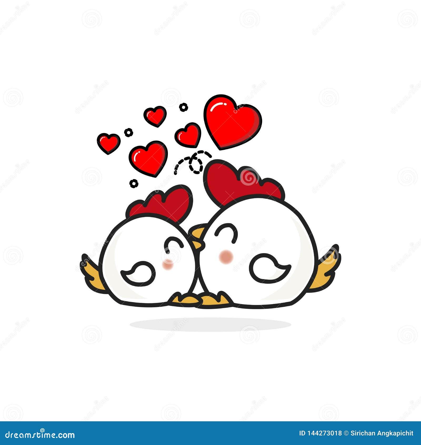 Junte el carácter del pollo en amor con los corazones
