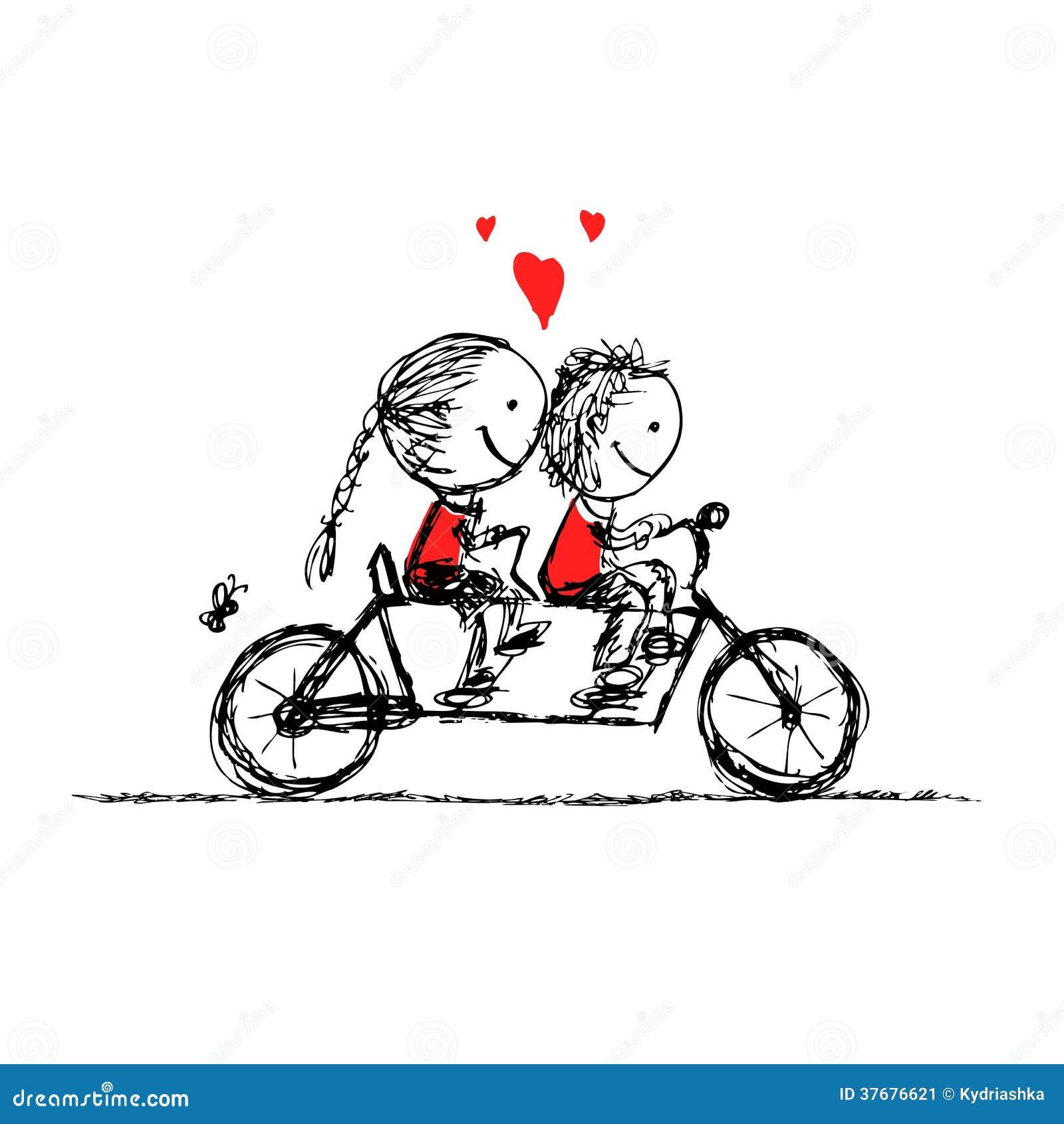 Junte el ciclo junto, bosquejo de la tarjeta del día de San Valentín para su