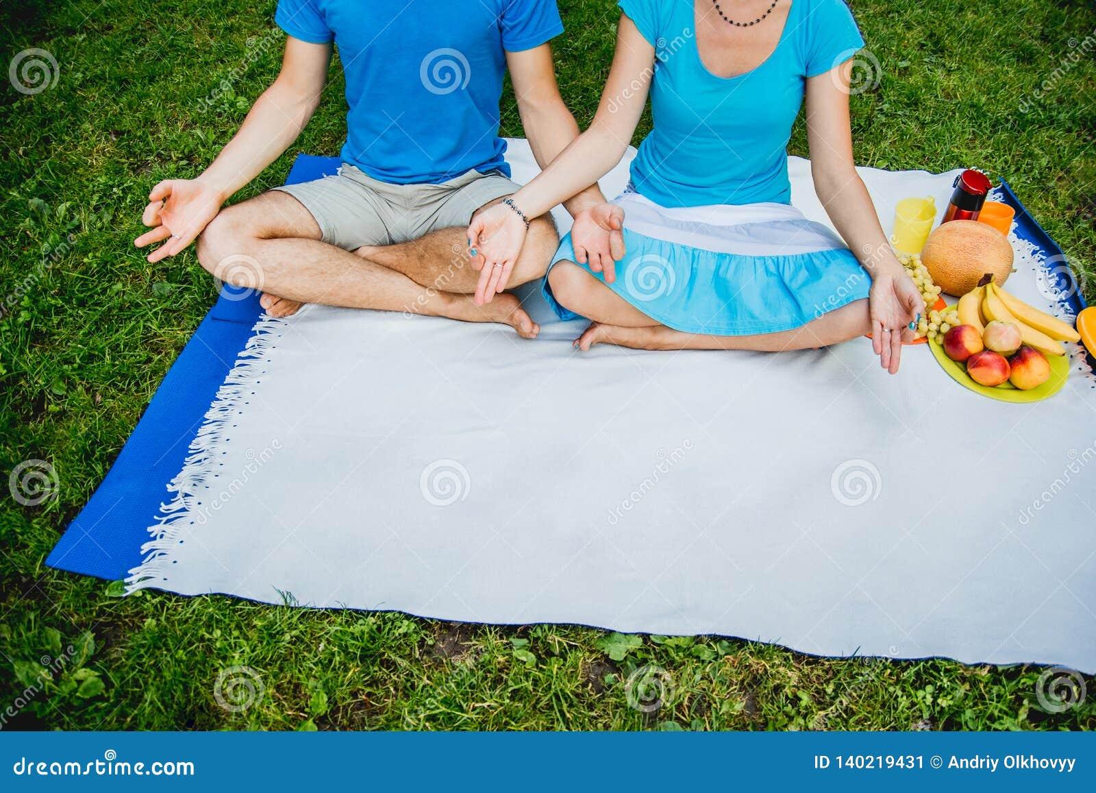 Junte el hombre y a la mujer que se sientan en el prado con la hierba verde en la posición de Lotus Medite en paz y la libertad