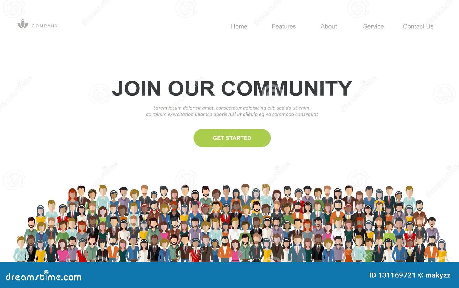 Junte-se a nossa comunidade Multidão de povos unidos como um negócio ou da comunidade criativa que está junto Vetor liso do conce
