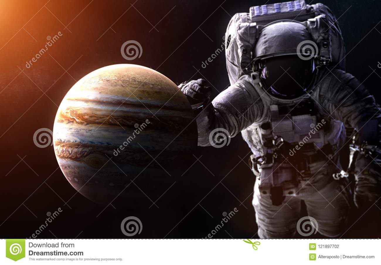 Jupiter On A Blurred Background With A Giant Astronaut  Elements Of