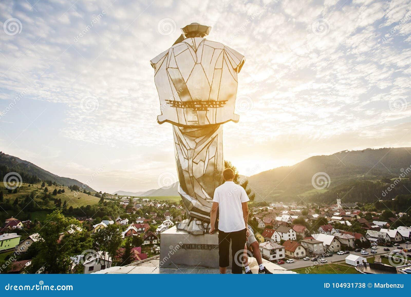 Juraj Janosik statue view, Terchova city