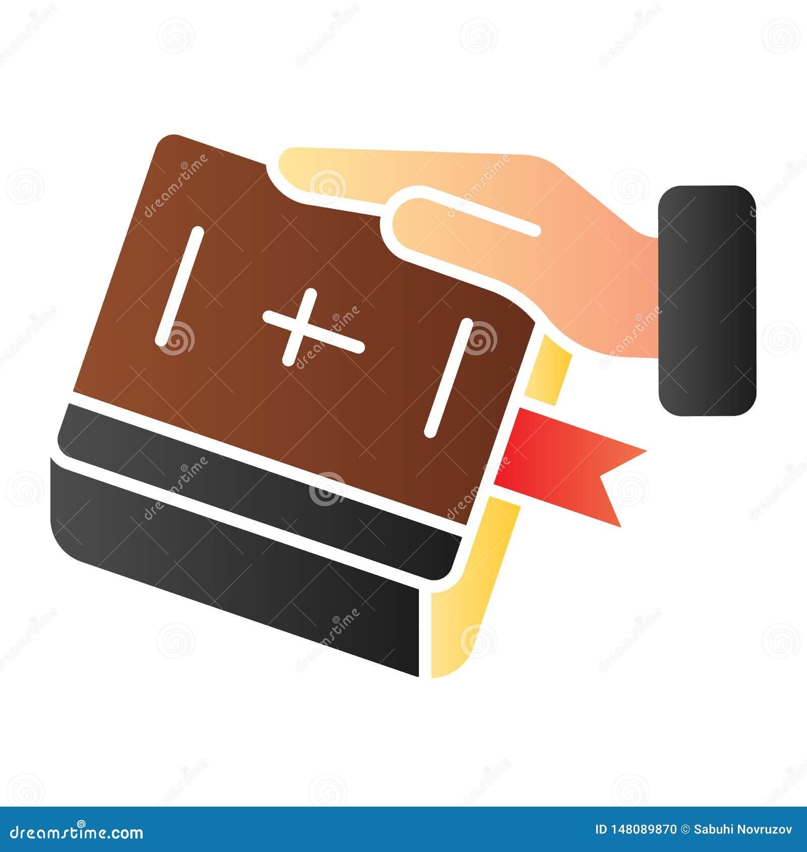 Juramento en icono plano de la biblia Mano en iconos del color del libro en estilo plano de moda Jure el diseño del estilo de la