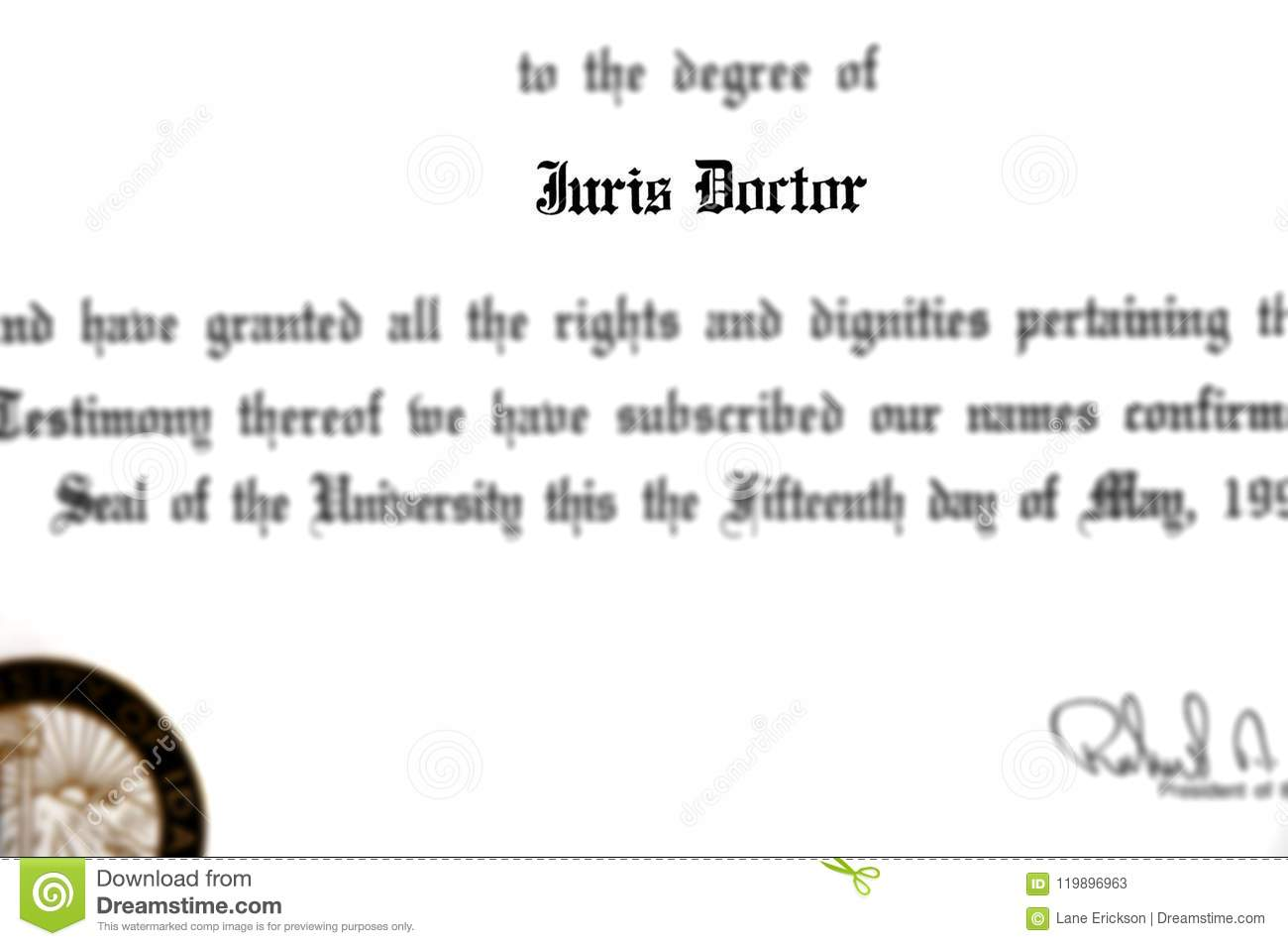 Juris Doctor Doctorate Law Degree for Lawyer Practicing