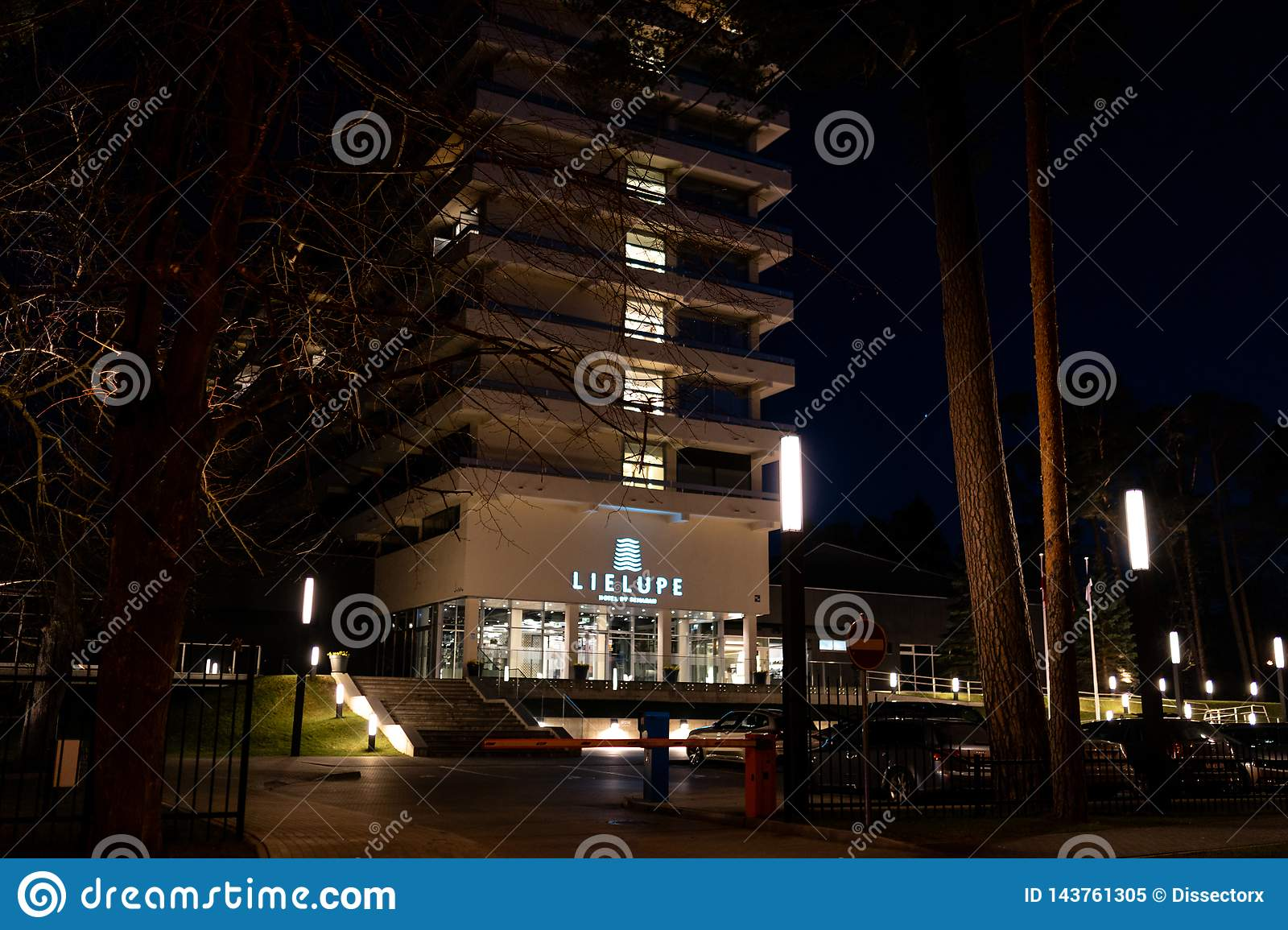 JURMALA, LATVIA - APRIL 2, 2019: Semarah Hotel Lielupe at night - Front entrance - Popular conference hall for people