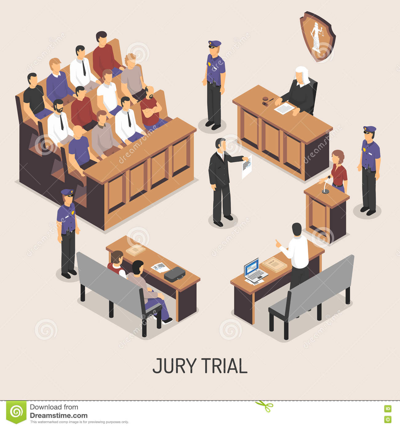 jury trial isometric composition stock vector. Black Bedroom Furniture Sets. Home Design Ideas