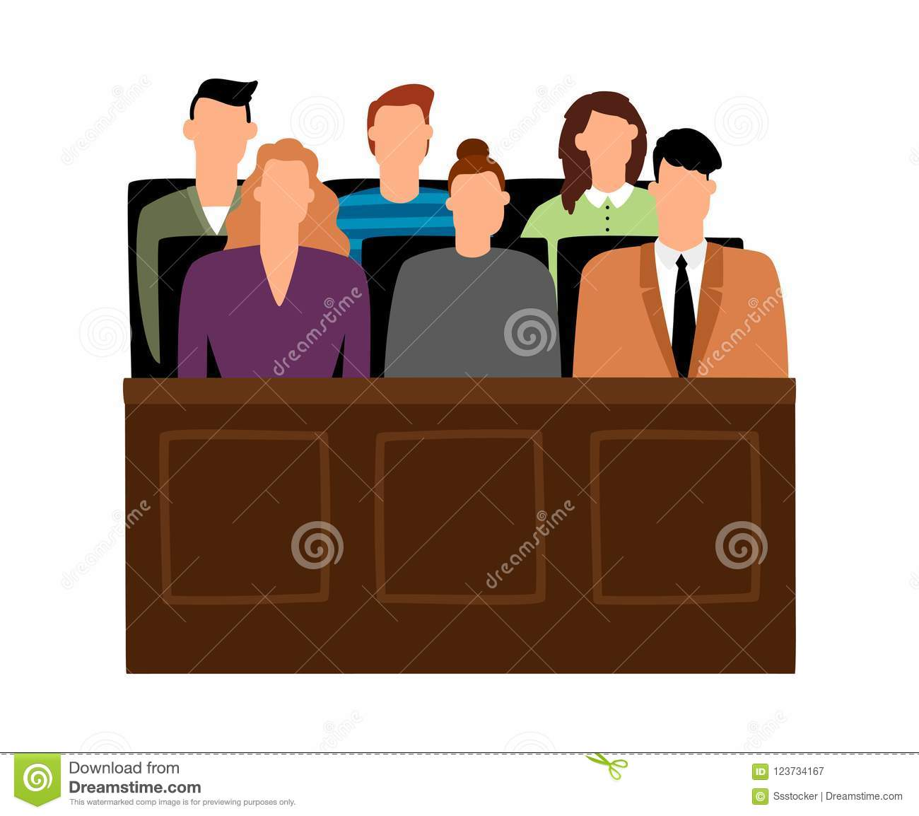 Jury Trial. Jurors Court In Courtroom, Prosecution People ...