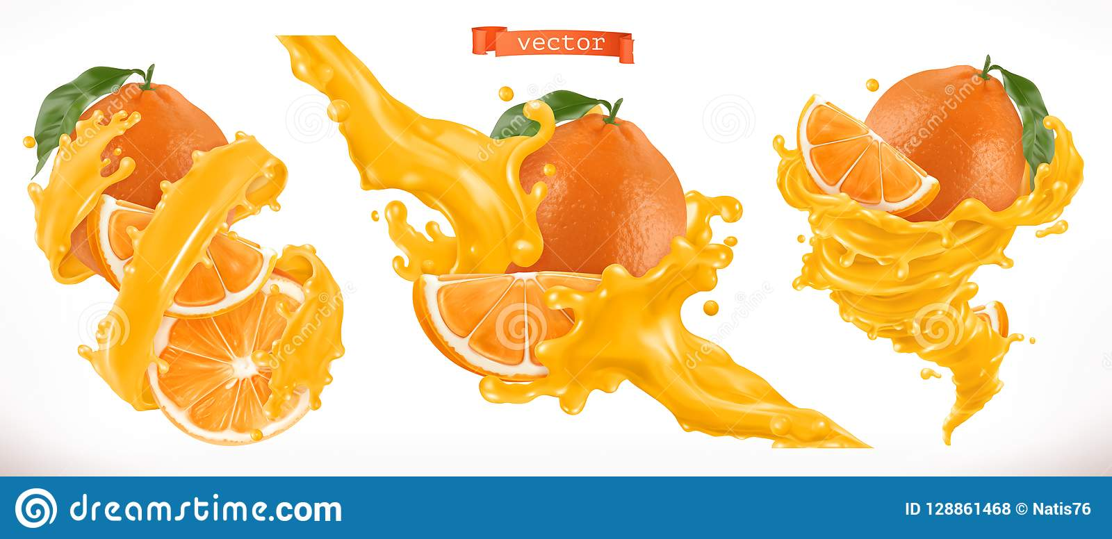 Jus d orange Icône de vecteur du fruit frais 3d