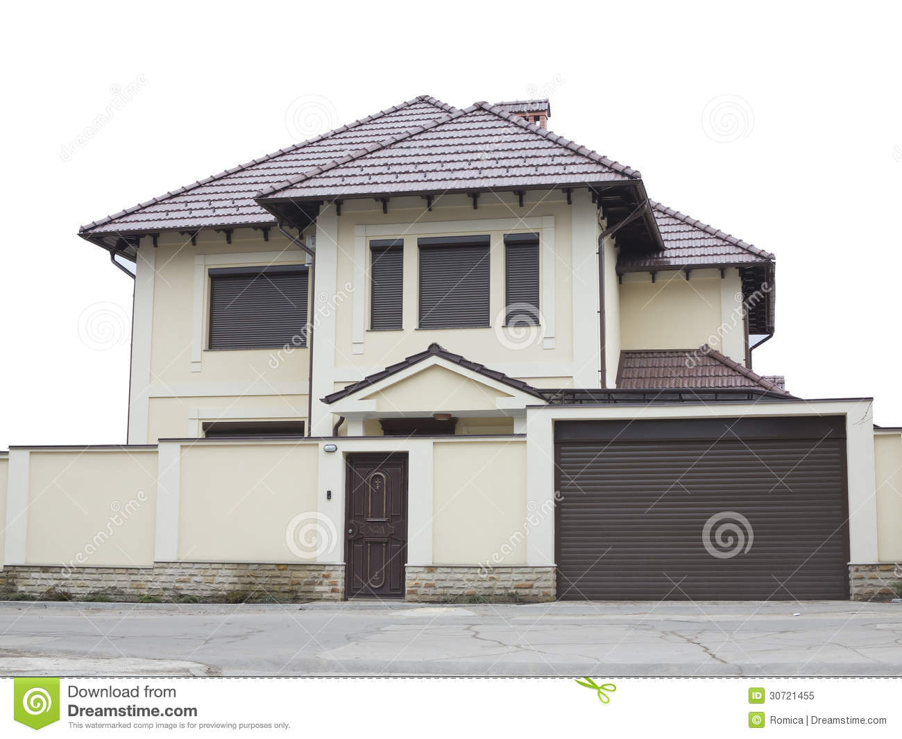 Just Builded Luxury House Over White Background Royalty