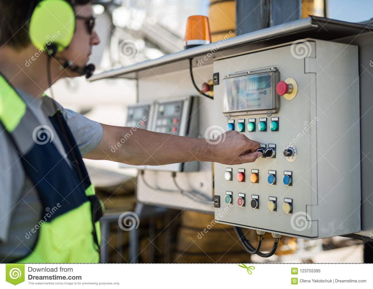 Aviation mechanic working with technical equipment