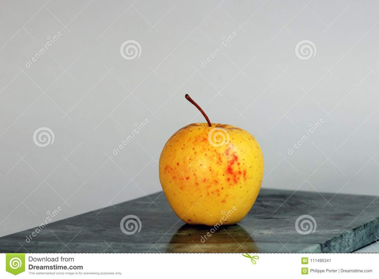 Just An Isolated Organic Apple With Red Spots Waiting For Adam And Eve.  Dilemma In Urban Garden Of Eden. Where Are The Millenials Snakes ?