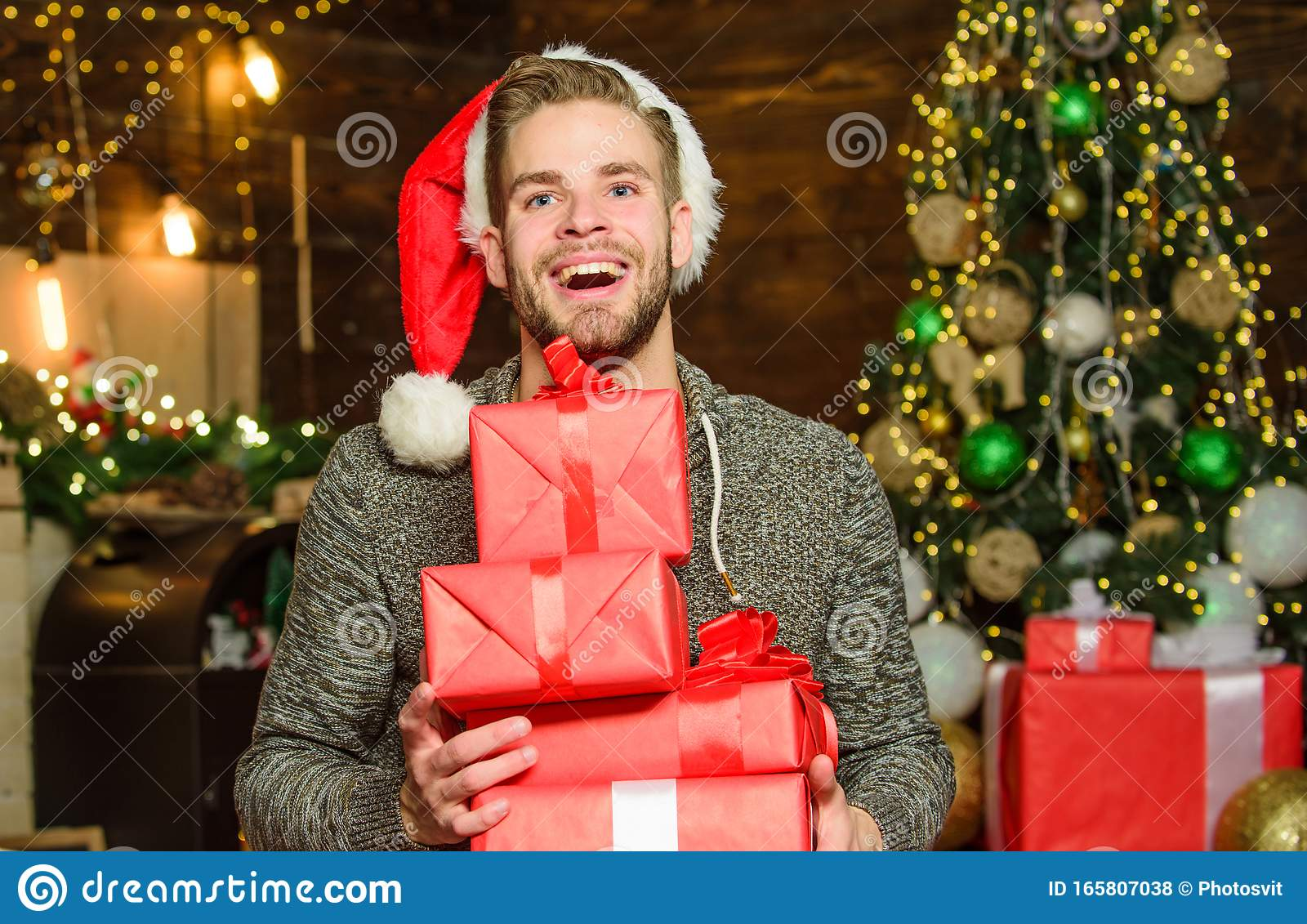 Just Look At That Xmas Holiday Gift Decorate Christmas Tree Last Preparation Christmas Time Cheerful Man Red Santa Stock Photo Image Of Gift Family 165807038