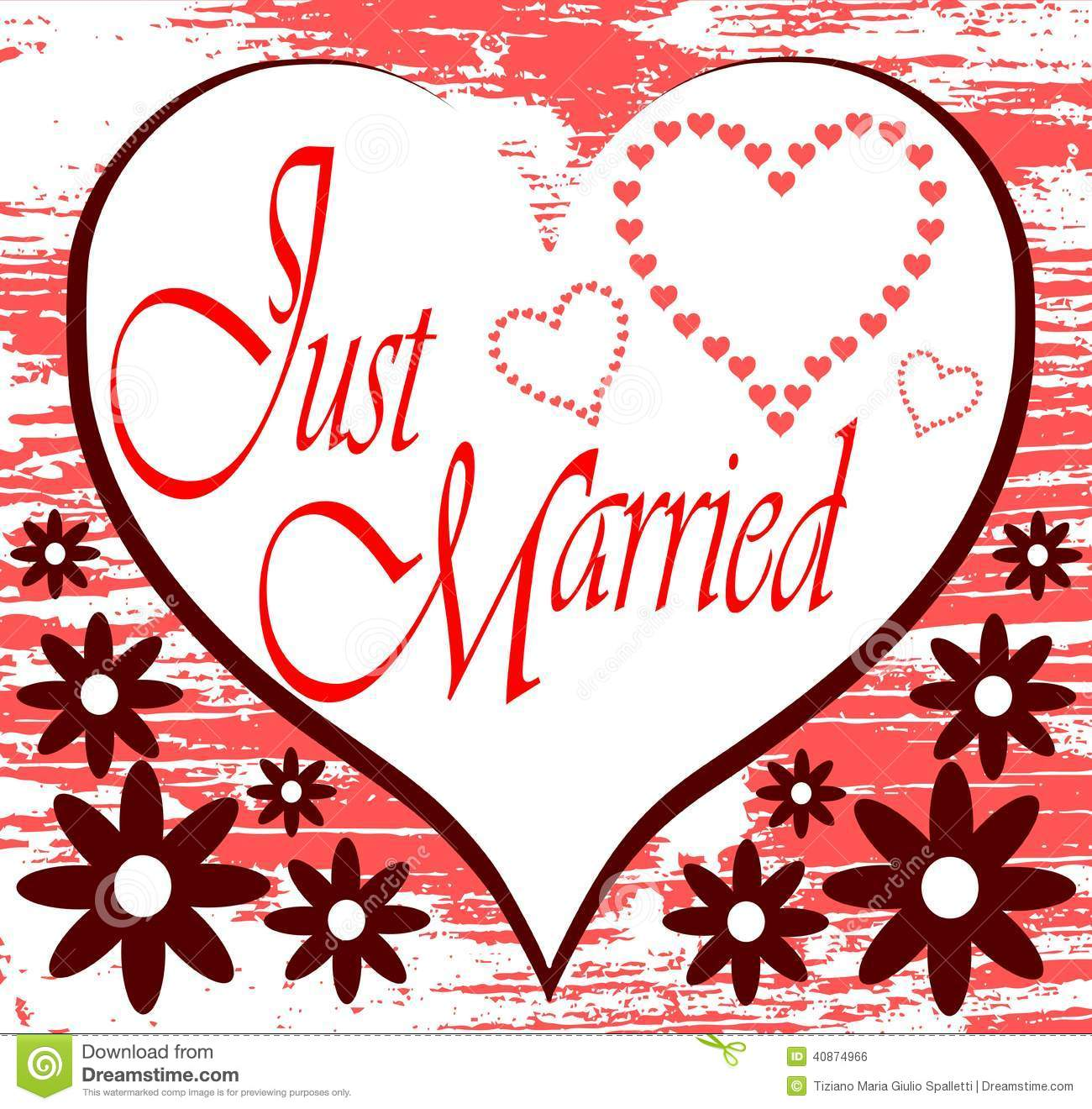 Just Married Background With Hearts Stock Vector Image