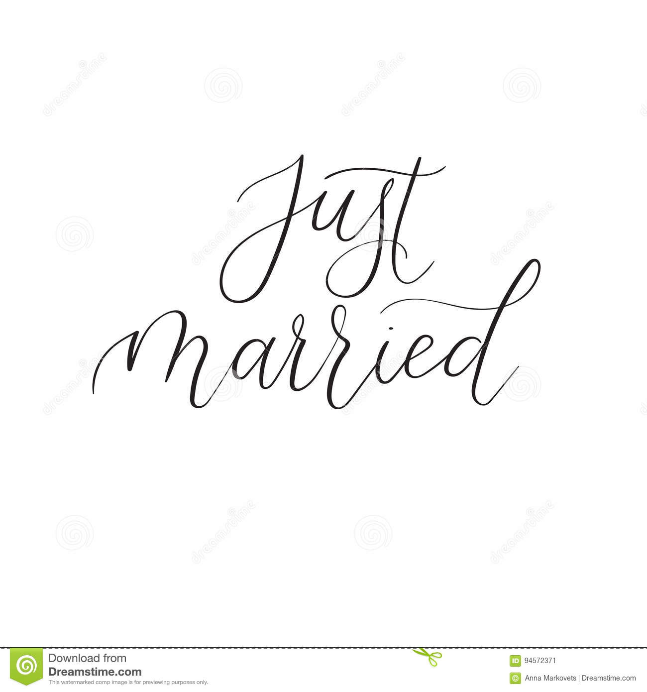 Just Married Calligraphy For Wedding Cards And Invitation. Vector ...