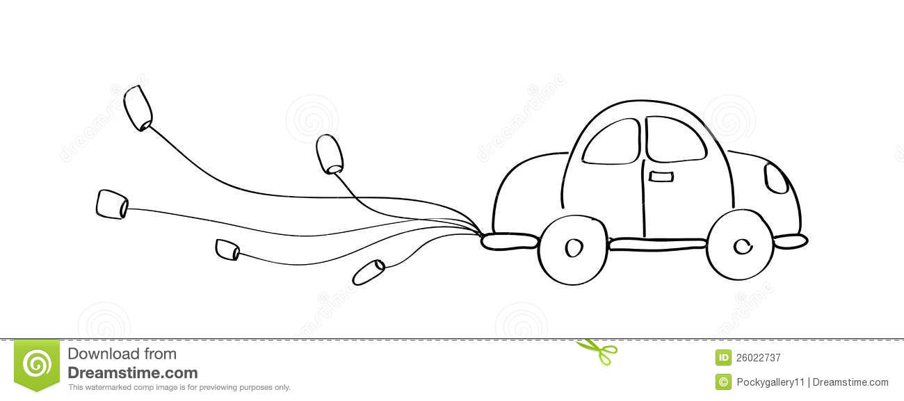 Just Married Car Cartoon Doodle Hand Drawing Royalty Free ...