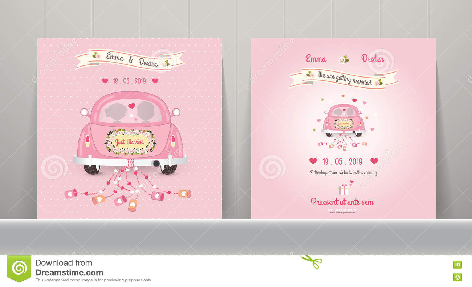 Just Married Car Wedding Invitation Card Stock Vector