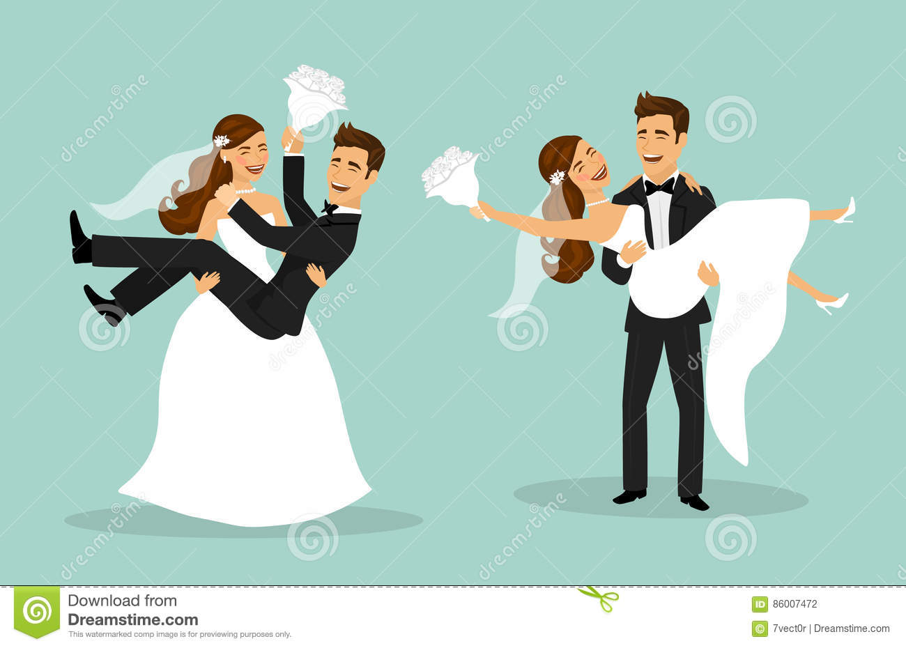 Just Married Couple Bride And Groom Carry Each Other After